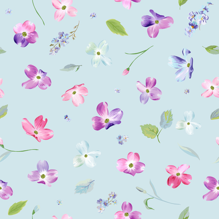 Spring Flowers Seamless Pattern. Watercolor Floral Background for Wedding Invitation, Fabric, Wallpaper, Print. Botanical Hand Drawn Texture. Vector illustration
