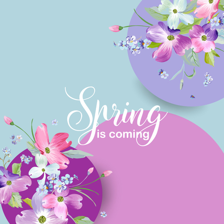 Floral Spring Graphic Design with Dogwood Blossom Flowers for Fashion, Poster, T-shirt, Banner, Greeting Card, Invitation. Vector illustration