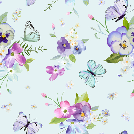 Seamless Pattern with Blooming Flowers and Flying Butterflies in Watercolor Style.