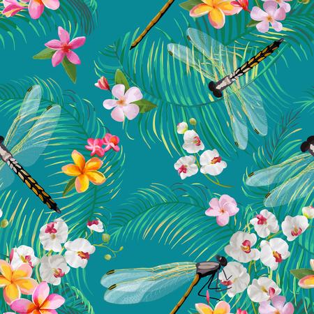 Modello senza cuciture floreale tropicale con le libellule. Sfondo di fauna selvatica botanica con foglie di palma e fiori esotici per sfondi e tessuto. Illustrazione vettoriale