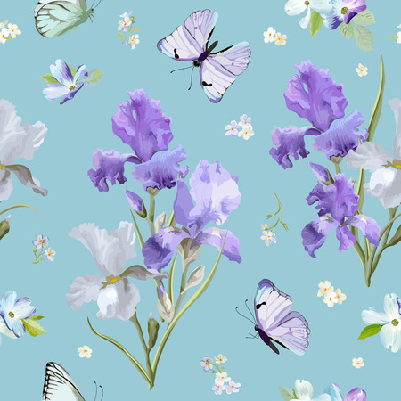 Floral Seamless Pattern with Purple Blooming Iris Flowers and Flying Butterflies. Watercolor Nature Background for Fabric, Wallpaper, Invitations.