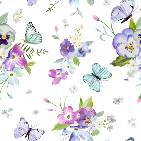 Floral Seamless Pattern with Blooming Flowers and Flying Butterflies. Watercolor Nature Background for Fabric, Wallpaper, Invitations.  イラスト・ベクター素材