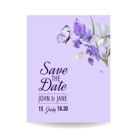 Save the Date Card with Flowers and Butterflies. Floral Wedding Invitation Template. Botanical Design for Greeting Cards. Illusztráció