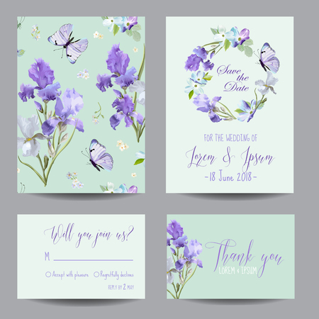Save the Date Card with Iris Flowers and Flying Butterflies. Floral Wedding Invitation Templates Set. Botanical Design for Greeting Cards. Illustration