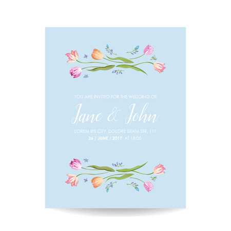 Save the Date Watercolor Card with Blossom Tulips Flowers. Wedding Invitation, Anniversary Party, RSVP Floral Template. Vector illustration