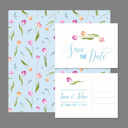 Save the Date Card Set with Blossom Tulips Flowers. Wedding Invitation, Anniversary Party, RSVP Floral Template. Vector illustration