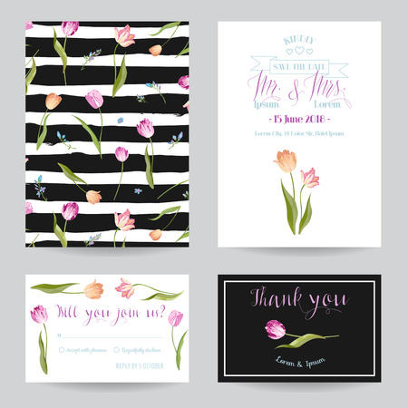 Save the Date Wedding Cards Set with Blossom Tulips Flowers. Birthday Invitation, Anniversary Party, RSVP Floral Template. Vector illustration 일러스트