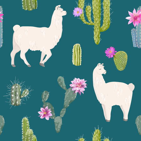 Llama and cactus seamless pattern. Lamas wildlife nature background for fabric, wallpaper, wrapping paper, decoration. Vector illustration.