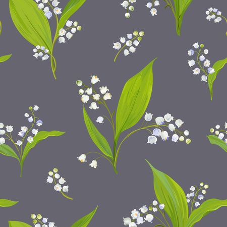 Floral Seamless Pattern with Watercolor Lily of the Valley. Spring Background with Blossom Flowers for Fabric, Wallpaper, Posters, Banners. Vector illustration