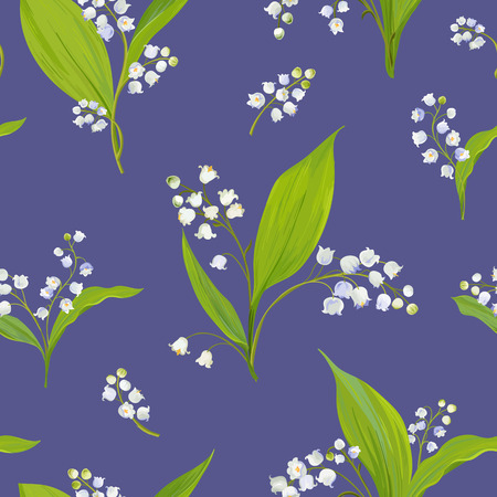 Floral seamless pattern with watercolor lily of the valley. Spring background with blossom flowers for fabric, wallpaper, posters, banners. Vector illustration.