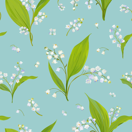 Floral Seamless Pattern with Watercolor Lily of the Valley. Spring Nature Background with Blossom Flowers for Fabric, Wallpaper, Posters, Banners. Vector illustration