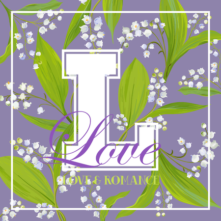 Love Romantic Floral Design for Prints, Fabric, T-shirt, Posters. Spring Background with White Lily Flowers. Vector illustration