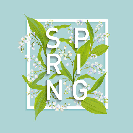 Floral spring design template for card, sale banner, poster, placard, cover, t-shirt print. Background with lily flowers. Vector illustration. 일러스트