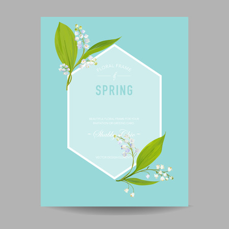 Floral Spring Design Template for Wedding Invitation, Greeting Card, Sale Banner, Poster, Placard, Cover. Background with Lily Flowers. Vector illustration