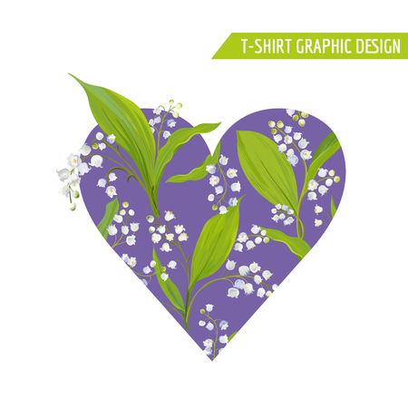 Love Romantic Floral Heart Design for Prints, Fabric, T-shirt, Posters. Spring Background with Lily Flowers. Vector illustration 일러스트