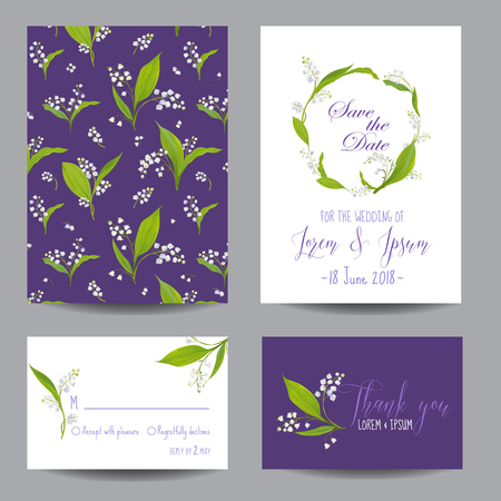 Save the Date Wedding Cards Set with Blossom Lily Flowers. Birthday Invitation, Anniversary Party, RSVP Floral Template. Vector illustration 일러스트