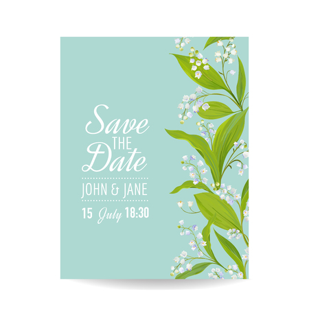 Floral Wedding Invitation Template with Spring Lily of the Valley Flowers. Save the Date Card, Anniversary Party, RSVP. Vector illustration