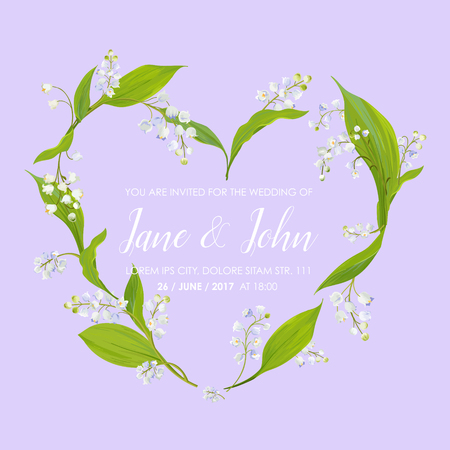Floral Wedding Invitation Template with Spring Lily of the Valley Flowers in Heart Shape. Save the Date Card, Anniversary Party, RSVP. Vector illustration
