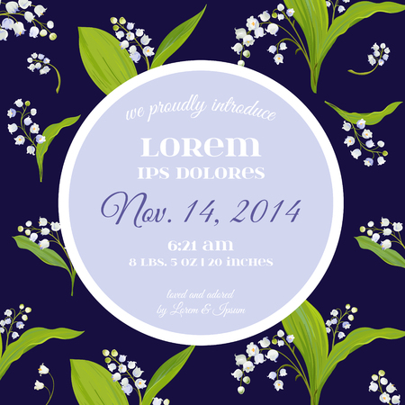 Save the Date Card with Spring Lily of the Valley Flowers. Wedding Invitation, Anniversary Party, RSVP Floral Template.