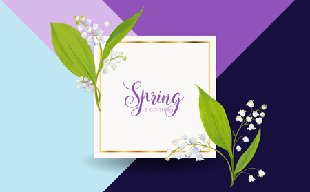 Floral Spring Design Template for Card, Sale Banner, Poster, Placard, Cover, T-shirt Print. Background with Lily Flowers. Vector illustration 일러스트