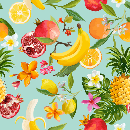 Seamless tropical fruits pattern. Exotic background with pomegranate, lemon, flowers and palm leaves for wallpaper, wrapping paper, fabric. 일러스트