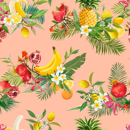 Seamless tropical fruits pattern. Exotic background with pomegranate, banana, flowers and palm leaves for wallpaper, wrapping paper, fabric. Vector illustration.