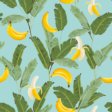 Tropical seamless pattern with bananas and palm leaves. Summer floral background for wallpaper, fabric, wrapping paper. Vector illustration 일러스트