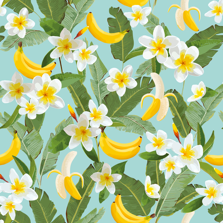 Tropical Seamless Pattern with Bananas and Palm Leaves. Summer Floral Exotic Background for Wallpaper, Fabric, Wrapping Paper. Vector illustration 일러스트