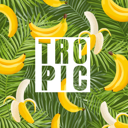 Tropical design with banana and palm leaves. Summer floral exotic background for fabric, posters, covers. Vector illustration