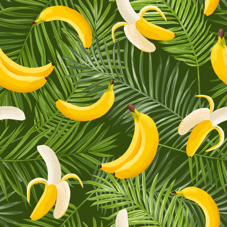 Tropical Seamless Pattern with Banana and Palm Leaves. Summer Floral Exotic Background for Wallpaper, Fabric, Wrapping Paper. Vector illustration 일러스트