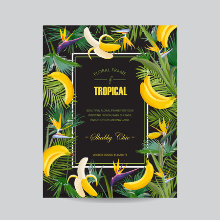 Summer floral greeting card with tropical flowers, palm leaves and banana. Wedding invitation template, poster, cover. Vector illustration.