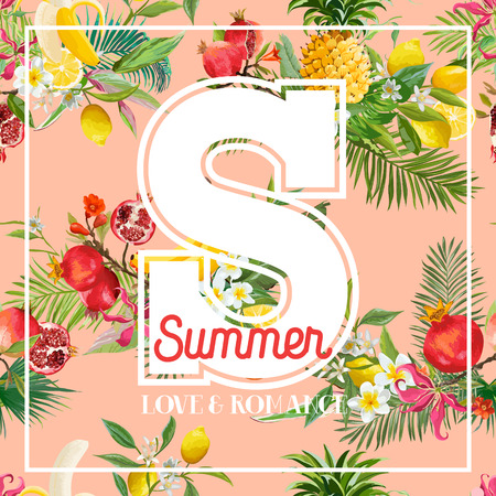 Tropical Design with Exotic Fruits. Summer Composition with Pineapple, Banana and Palm Leaves for Fabric, Posters, Covers. Vector illustration