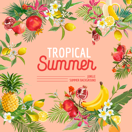 Tropical design with exotic fruits. Summer composition with pineapple, banana and palm leaves for fabric, t-shirt, posters, covers. Vector illustration. 일러스트