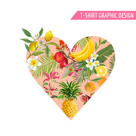 Summer design with tropical fruits. Heart shape with pineapple, banana and palm leaves for fabric, t-shirt, posters, covers. Vector illustration 일러스트