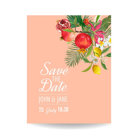 Wedding Invitation with Tropical Fruits and Palm Leaves. Greeting Save the Date Card with Flowers for Anniversary, Baby Shower, Poster,4 Covers. Vector illustration