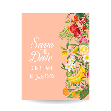 Wedding invitation with tropical Fruits and palm leaves. Greeting save the date card with flowers for anniversary, baby shower, poster, covers. Vector illustration.