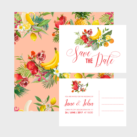 Wedding invitation with tropical fruits and palm leaves. Greeting save the date card with flowers for anniversary, baby shower, poster. Vector illustration