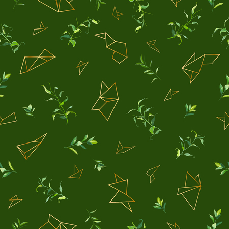 Floral Seamless Pattern with Tropical Leaves and Geometric Golden Shapes. Natural Background for Fabric, Wallpaper, Decoration. Vector illustration