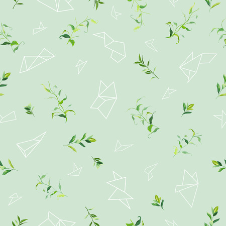 Floral Seamless Pattern with Tropical Leaves and Geometric Shapes. Natural Background for Fabric, Wallpaper, Decoration. Vector illustration 일러스트