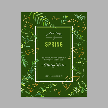Spring and Summer Floral Frame with Tropical Leaves and Geometric Shapes for Invitation, Greeting Save the Date Card, Wedding, Baby Shower. Vector illustration
