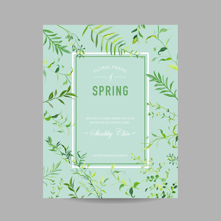 Blooming Spring and Summer Floral Frame with Tropical Leaves for Invitation, Greeting Save the Date Card, Wedding, Baby Shower. Vector illustration 일러스트