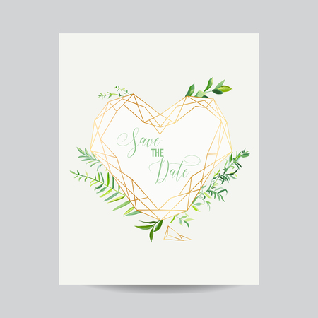 Wedding Invitation Floral Heart Shape Template. Save the Date Frame with Place for your Text and Tropical Leaves. Greeting Card, Poster, Banner. Vector illustration 일러스트