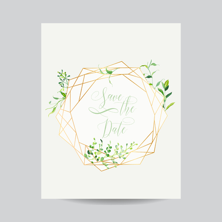 Wedding Invitation Floral Template. Save the Date Frame with Place for your Text and Tropical Leaves. Greeting Card, Poster, Banner. Vector illustration