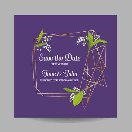 Wedding Invitation Floral Template with Geometric Elements. Save the Date Frame with Place for your Text and Lily Flowers. Greeting Card, Poster, Banner. Vector illustration 일러스트