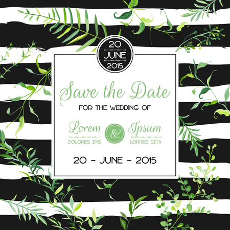 Wedding Invitation or Congratulation Floral Card Template with Tropical Leaves. Save the Date Blooming Spring and Summer Frame. Vector illustration 일러스트
