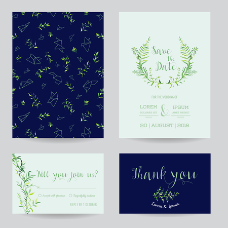 Wedding Invitation Floral Templates Set. Save the Date Cards with Place for your Text and Tropical Leaves. Vector illustration 일러스트