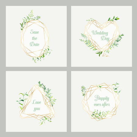 Wedding Invitation Floral Templates Set. Save the Date Frames with Place for your Text and Tropical Leaves. Greeting Cards, Posters, Banners. Vector illustration