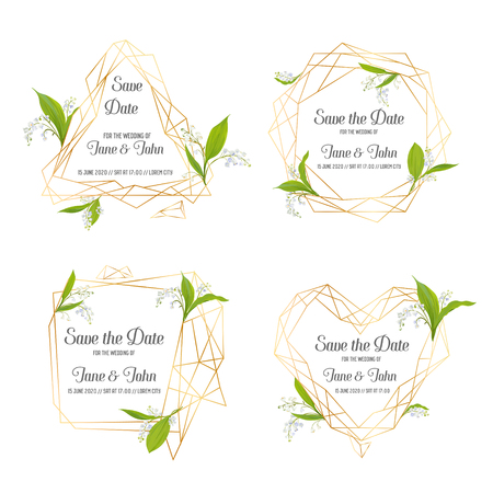Wedding Invitation Floral Template Set. Save the Date Frames with Place for your Text and Lily Valley Flowers. Greeting Cards, Posters, Banners. Vector illustration Illustration