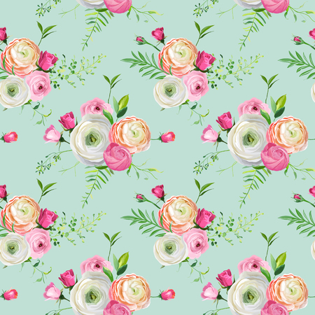 Floral Seamless Pattern with Pink Roses and Ranunculus Flowers. Botanical Background for Fabric Textile, Wallpaper and Decor. Vector illustration