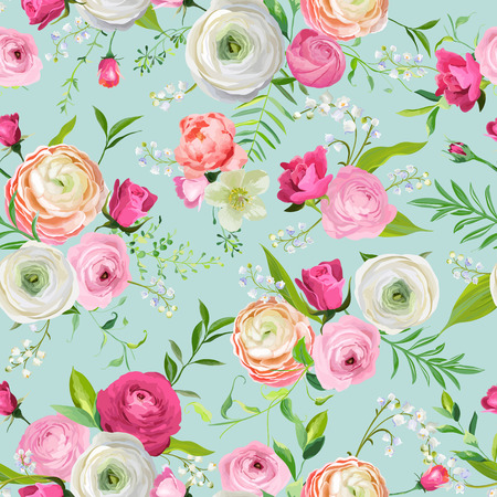 Summer Floral Seamless Pattern with Pink Flowers and Lily. Botanical Background for Fabric Textile, Wallpaper, Wrapping Paper and Decor. Vector illustration 일러스트